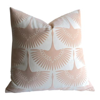 Blush Velvet Swans Pillow