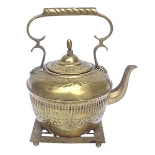 Antique Embossed Brass Teakettle & Trivet
