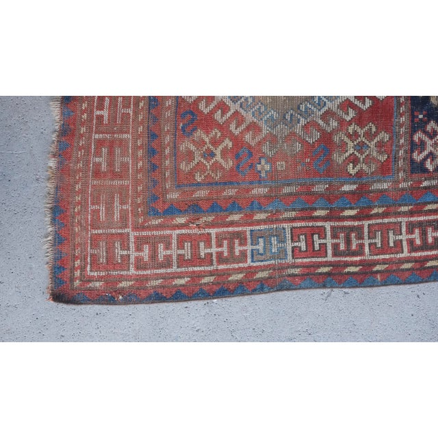 "1900s Antique Distressed Caucasian Kazak - 3'9""x7'6"" For Sale - Image 5 of 9"