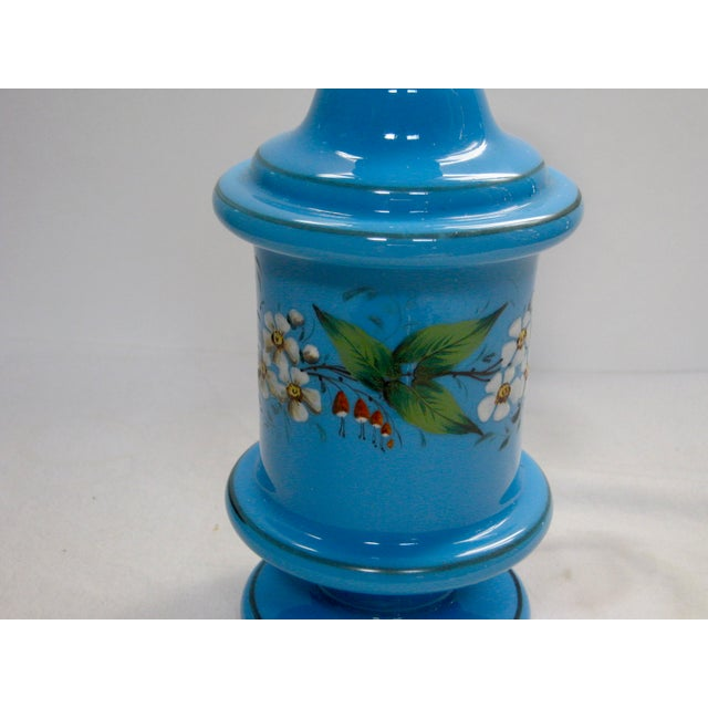 Antique French Hand Painted Blue Opaline Decanter For Sale - Image 4 of 10