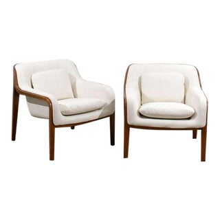 Restored Pair of Bill Stephens Walnut Lounge Chairs in Cream Leather For Sale