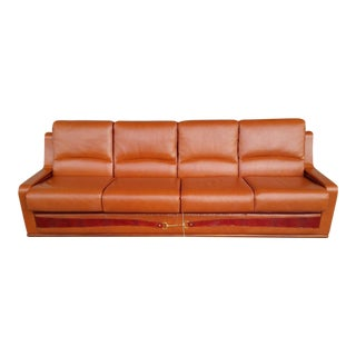 1950s Italian Paolo Gucci Leather Sleeper Sofa For Sale