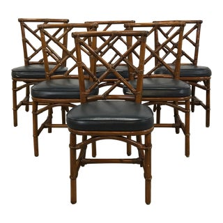 Set of 6 Dark Rattan Dining Chairs