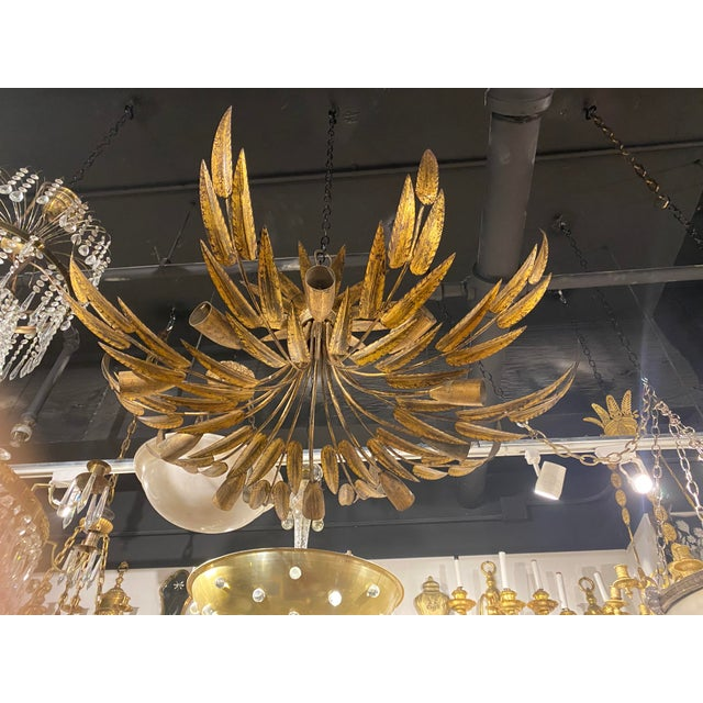 1930s Gilt Metal 10 Light Fixture For Sale - Image 9 of 10