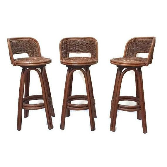 1970s Vintage Rattan & Bamboo Swivel Bar Stools - Set of 3 For Sale - Image 5 of 11