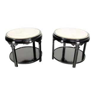 Pair of Round Black Lacquer Asian Inspired Marble-Top End Tables