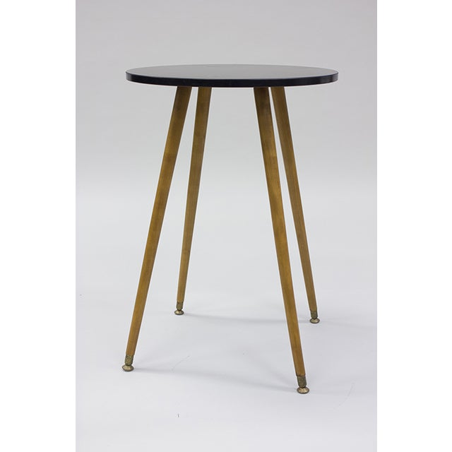 Mid-century Black Laminate & Tall Wood Side Table - Image 2 of 4
