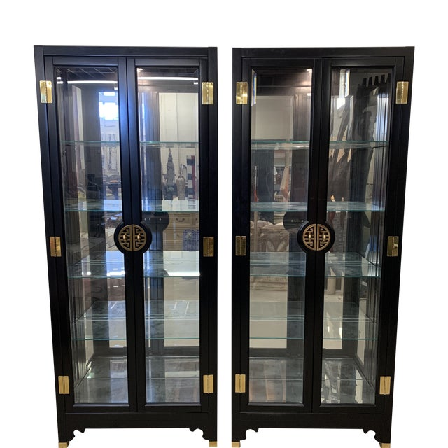 American of Martinsville Black Lacquer China Cabinets -A Pair For Sale