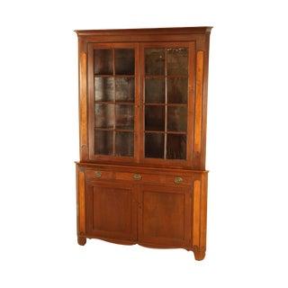 Antique American Black Walnut Wide Chippendale Corner Cabinet For Sale