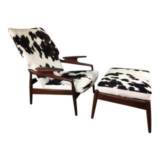 Finn Juhl Teak Reclining Lounge Chair & Ottoman