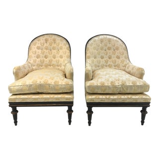 Transitional Vintage Black and Champagne Lounge Chairs Pair For Sale