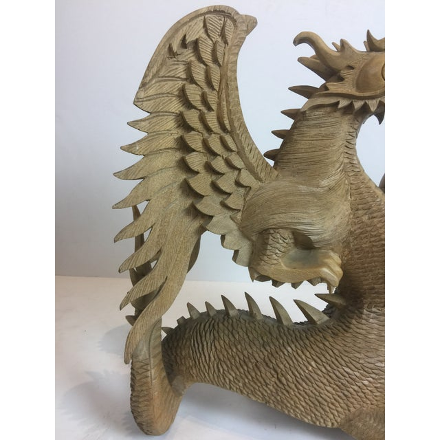 2000 - 2009 Rare Magnificent Vintage-Carved Wooden Dragon Figurine For Sale - Image 5 of 13