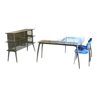 1970s Scandinavian European Solid Aluminum Frame & Glass Top Desk Matching Book Shelf Set For Sale