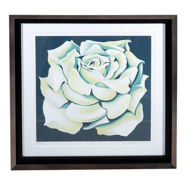 Drawing/Sketching Materials 1980's Limited Edition White Rose Lithograph in Custom Frame by Lowell Nesbitt For Sale - Image 7 of 10