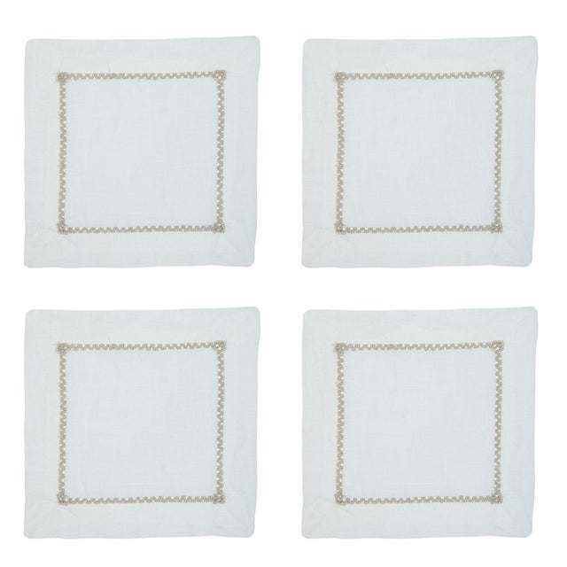 Traditional Open Hemstitch Bone Cocktail Napkins - Set of 4 For Sale - Image 3 of 3