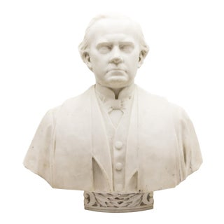 19th Century White Marble Bust of a Man For Sale
