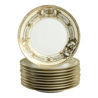 1920s Noritake Encrusted Gold Urn Small Plates - Set of 10 For Sale