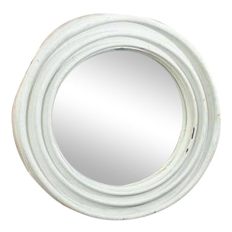 Round Painted Zinc Architectural Element With Mirror For Sale