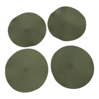 Avocado Green Woven Round Placemats - Set of 4 For Sale