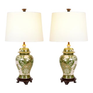 Vintage Pair of Porcelain Task / Table Lamps With Wood Base For Sale