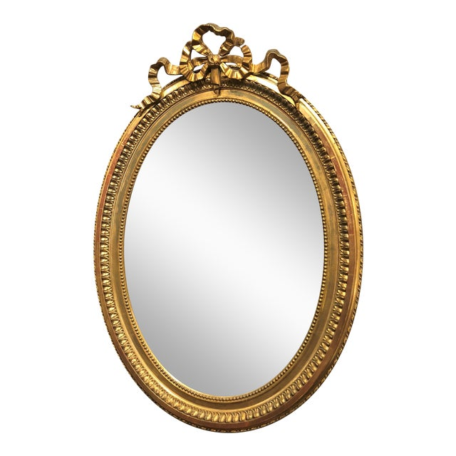 Antique French 19th Century Louis XVI Style Gold Mirror with Beveling. For Sale