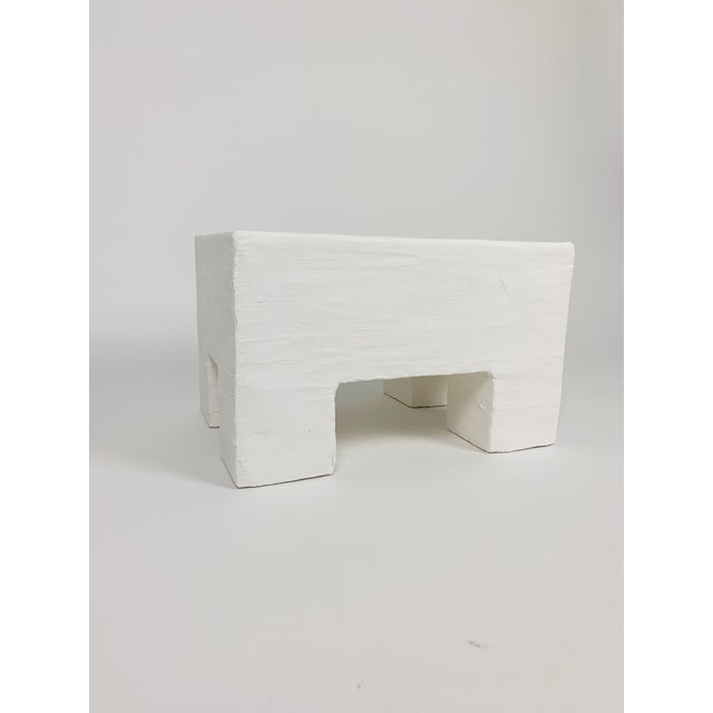 White The Freya Minimalist Raw Plaster Footstool For Sale - Image 8 of 8
