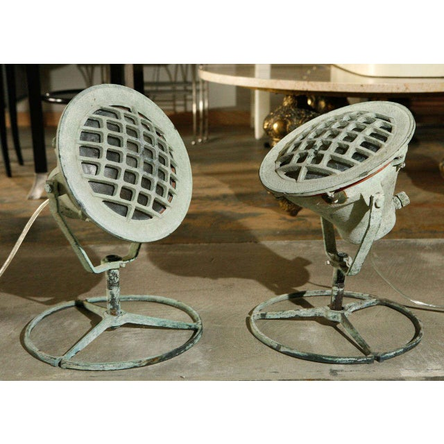 Metal 20th Century Industrial Bronze Ship Spot Lights -a Pair For Sale - Image 7 of 8