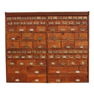 Primitive Vintage Oak Cabinet- Apothecary, Card Catalog, General Store, Antique Hardware For Sale