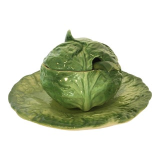 Mid 20th Century Vintage Cabbage Leaf Sugar Bowl and Plate - 4 Pieces For Sale