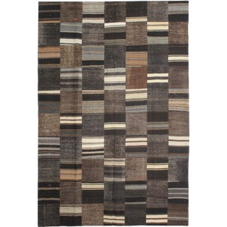 "Aara Rugs Inc. Hand Knotted Patchwork Kilim - 9'8"" X 6'10"" For Sale"