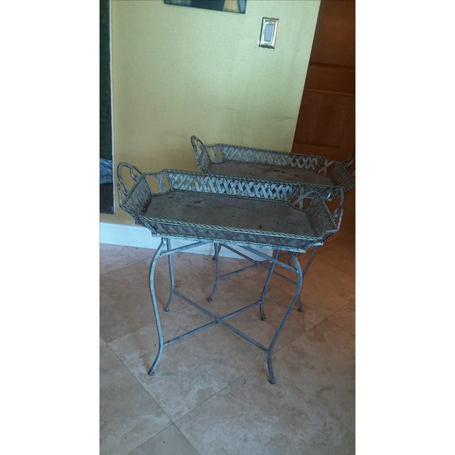 Silvery Indoor/ Outdoor Metal Tray Tables - Image 2 of 7
