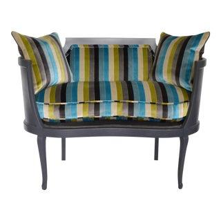 Antique Mahogany Striped Velvet Upholstered Settee Arm Chair