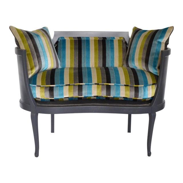 Antique Mahogany Striped Velvet Upholstered Settee Arm Chair For Sale