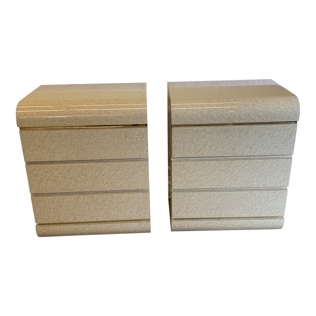 Post Modern Laminate Brass Nightstands -A Pair For Sale