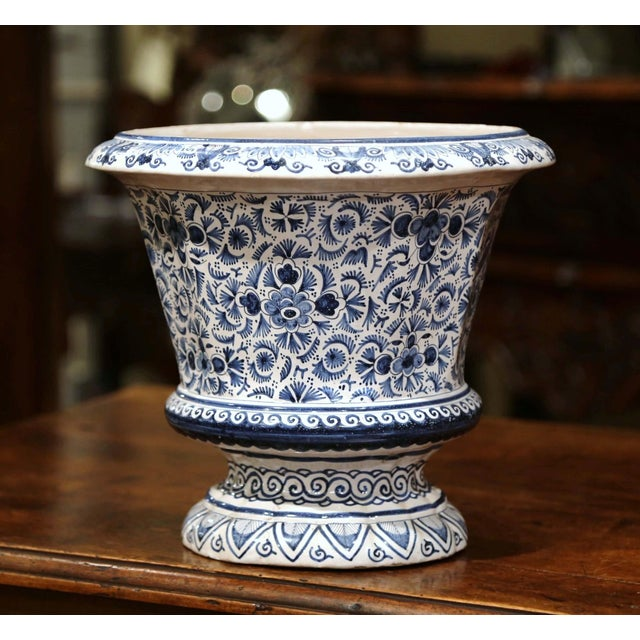 French 19th Century French Faience Painted Cache Pot For Sale - Image 3 of 7