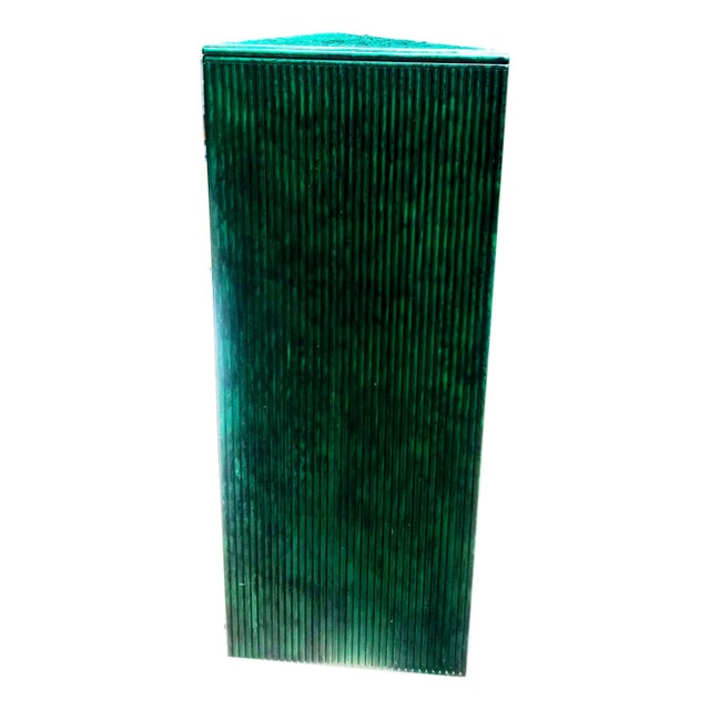 Art Deco Hand Painted Malachite Split Reed Geometric Pedestal Table For Sale - Image 3 of 7