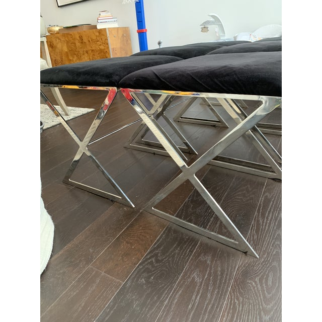 Chrome Made Goods Microsuede Chrome X Bench Stools - Set of 6 For Sale - Image 7 of 12