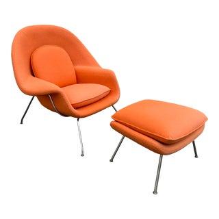 1970s Vintage Knoll Eero Saarinen Womb Chair and Ottoman For Sale