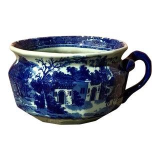 Vintage Chinoiserie Flow Blue Porcelain Pot Planter For Sale