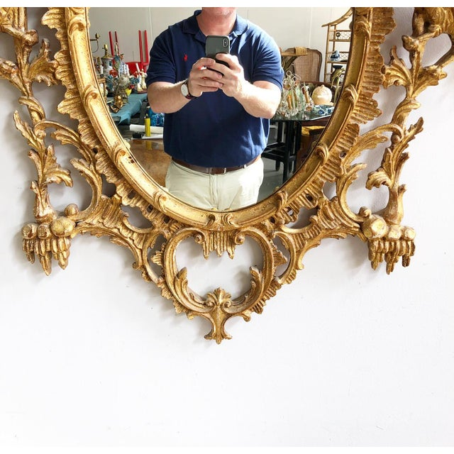 Vintage LaBarge Oval Pagoda Wooden Carved Chinoiserie Gold Gilded Mirror For Sale In Atlanta - Image 6 of 13
