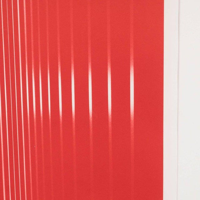 Dynamic Mid-Century Modern Op-Art Signed Serigraph by Ennio Finzi in Vibrant Red For Sale - Image 9 of 10