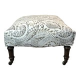 Image of Reupholstered Antique Tan Ottoman For Sale