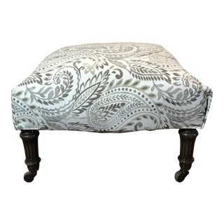 Reupholstered Antique Tan Ottoman For Sale
