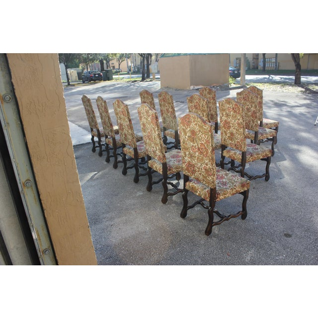 1900 - 1909 1900s Vintage French Louis XIII Style Os De Mouton Dining Chairs - Set of 12 For Sale - Image 5 of 13