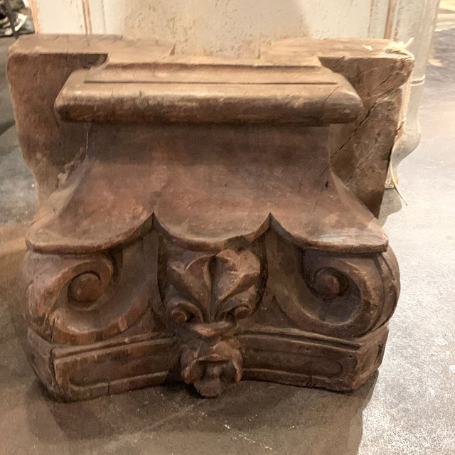 Late 19th Century English Colonial Indian Carved Teak Column Base Architectural Element C 1880 For Sale - Image 5 of 13