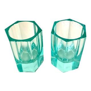 Moser Modern Turquoise Crystal Votives - Set of 2 For Sale