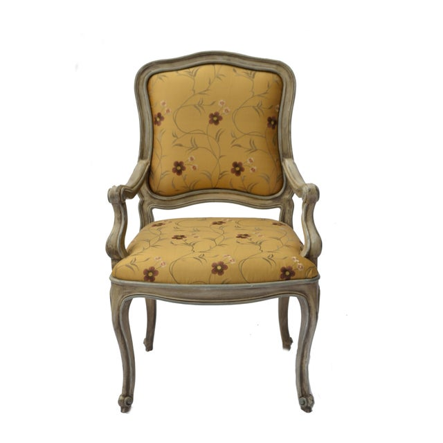Hand Painted Arm Chair with Silk Upholstery - Image 2 of 4