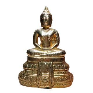 Mid 20th Century Vintage Gold Painted Buddha For Sale