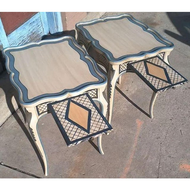Tea Tables With French Style Paint Cabriole Legs and Candle Slides - a Pair For Sale - Image 6 of 11