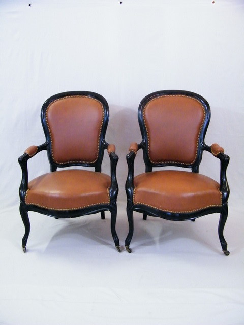 Tan Leather French Armchairs   A Pair   Image 2 Of 6